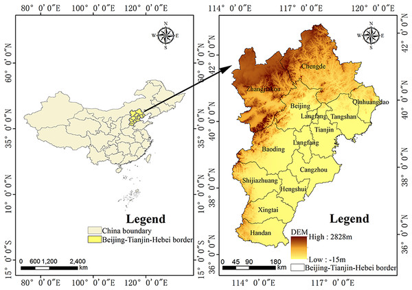 Location of the Beijing–Tianjin–Hebei urban agglomeration and digital elevation model (DEM) of the study area.