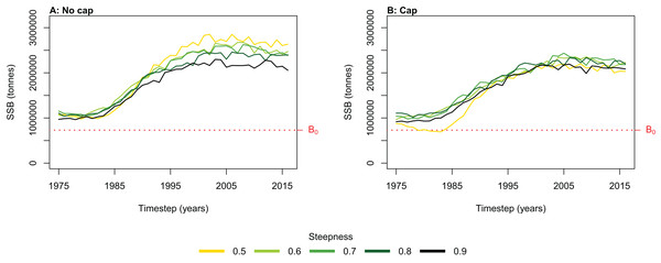 Hindcast biomass trajectory for the myctophids species functional group with different recruitment steepness (h) and no cap on recruitment (A) and with recruitment capped at R0 (B).