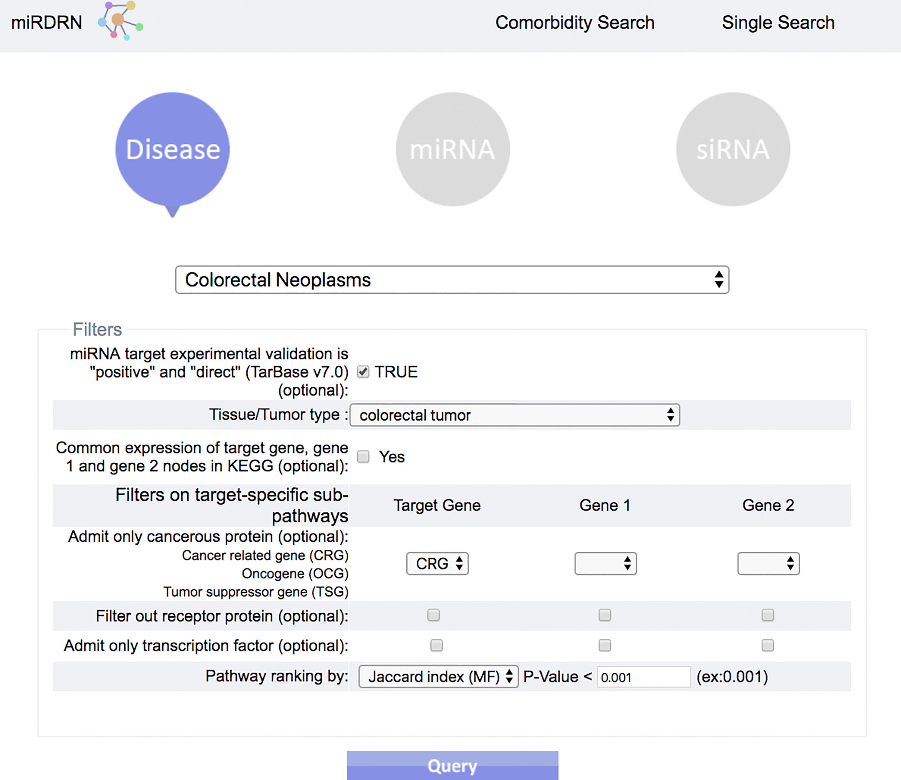 miRDRN—miRNA disease regulatory network: a tool for