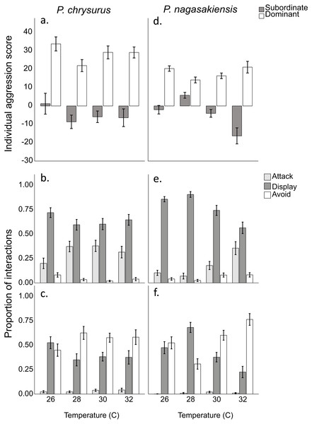 Aggression score and proportion of interaction behaviour by each competitor.