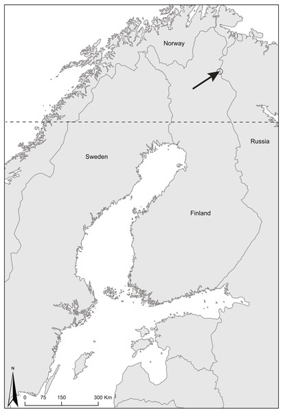 Map of Finland showing the study area.