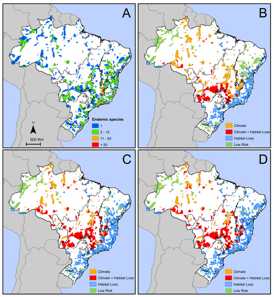 Geographic distribution of areas with microendemic species of seed plants in Brazil according to (A) the number of endemic species, and (B) the classes of extinction risk in scenario 1, (C) scenario 2, and (D) scenario 3.
