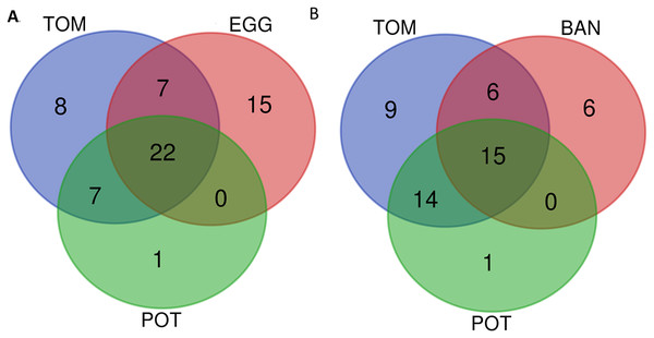 "Venn diagram of conserved T3Es among different sets of ""host-of-isolation"" defined strains."