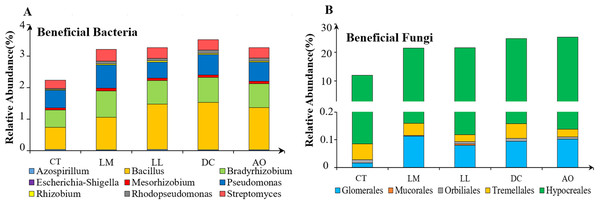 The relative abundance of beneficial bacteria (A) and fungi (B) in the soils under different land consolidation practices.