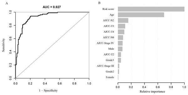 (A) ROC curve based on the modelconstructed by machine learning; (B) risk factors contribution to deathprediction.