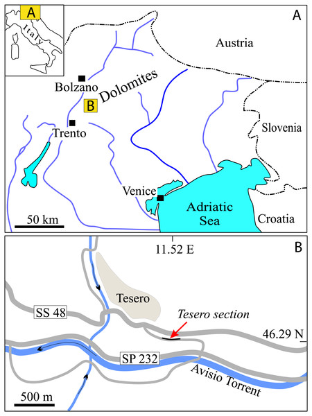 Geographic position of the Tesero section within (A) Italy and within (B) the Fiemme Valley, Trento Province.