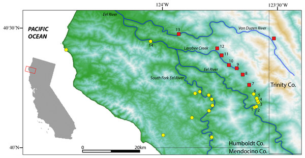 Map of sample localities from the southern Humboldt County contact zone.