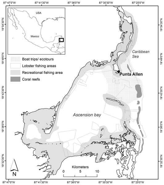 Area of study in Ascension Bay and operating sites of the economic activities of Punta Allen.