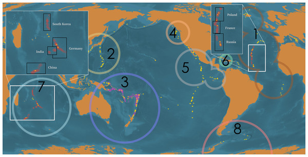 Global distribution of deep-sea hydrothermal vents, ISA-issued high seas mining exploration leases, and mining exploration licenses issued within territorial waters.