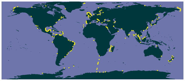 Occurrence of Chaetoceros using literature data.