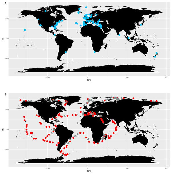 Chaetoceros distribution according to OSD (A) and Tara Oceans (B) data.