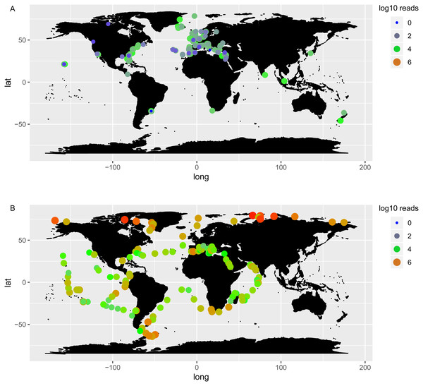 Log10 abundance of Chaetoceros reads according to OSD (A) and Tara Oceans (B) datasets.