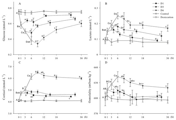 Glucose (A), lactate (B), cortisol (C) and osmolality (D) levels of A. japonicus during desiccation and subsequent resubmersion.