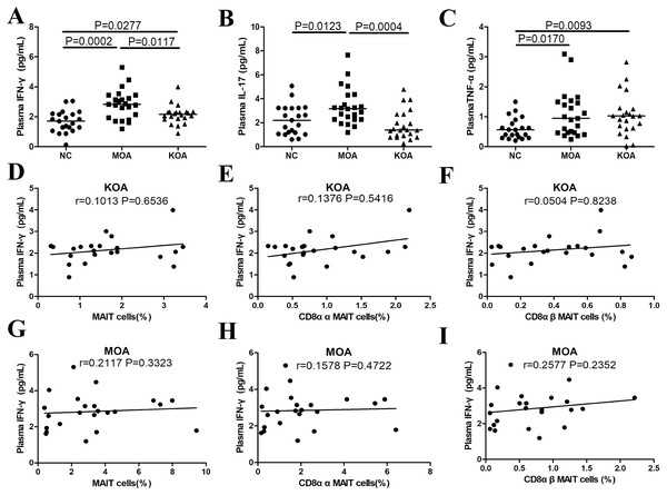 Plasma cytokine levels in patients with OA categorized by joint impairment, and correlation analysis of plasma cytokine levels with MAIT cells.