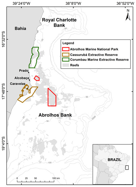 Map of the Abrolhos Bank region, Brazil.