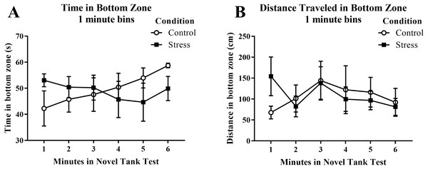 Measures of zebrafish activity in the bottom zone of the novel tank test over time.