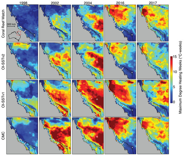 Heat stress on the GBR during austral summers of 2004 and years when mass coral bleaching was observed.