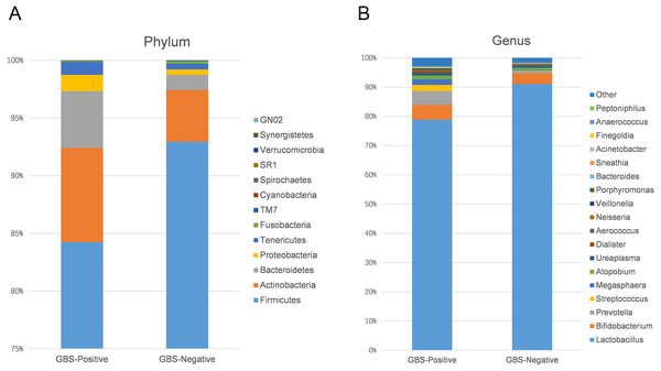 Comparison of relative taxa abundance between GBS-negative and GBS-positive groups at the phylum (A) and genus levels (B).