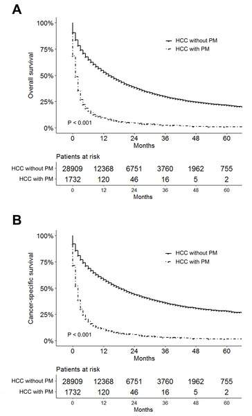 Survival analysis for hepatocellular carcinoma patients with and without pulmonary metastasis.