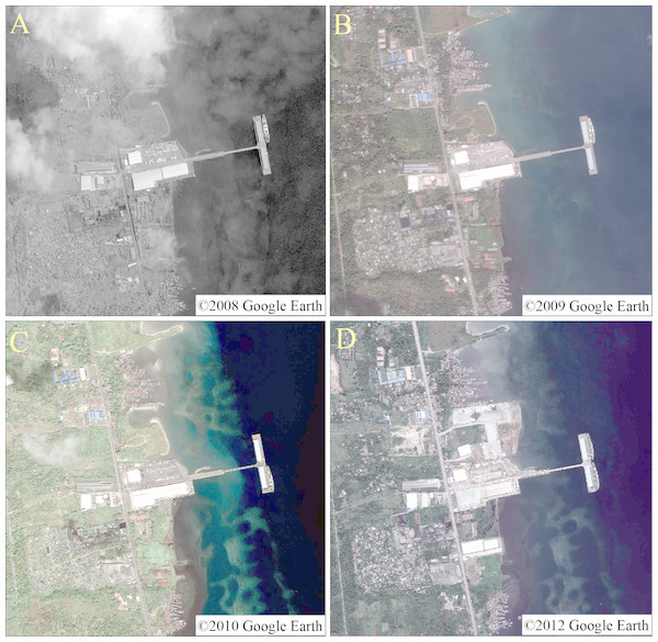 High-definition images of the 2008 (A), 2009 (B), 2010 (C) and 2012 (D) in study areas.