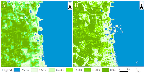Vegetation coverage map for 2009 (A) and 2018 (B).
