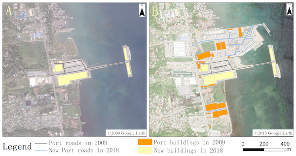 Port road and building change map for 2009 (A) and 2018 (B).
