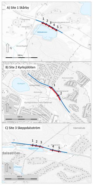 Maps of the three study sites (A, site 1 Skårby; B, site 2 Kyrksjölöten; C, site 3 Skeppdalsström).