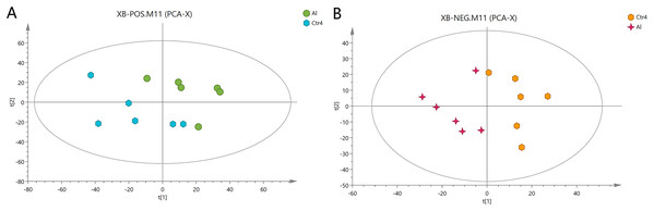 PCA score plots of metabolites in HT-29 cells in the positive-ion mode (A) and negative-ion mode (B).