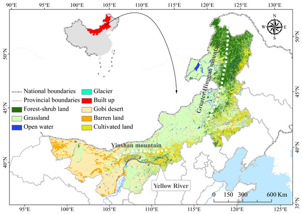 Location and ecosystem distribution map of China's Inner Mongolian region.