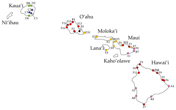 Ligia localities included in this study.