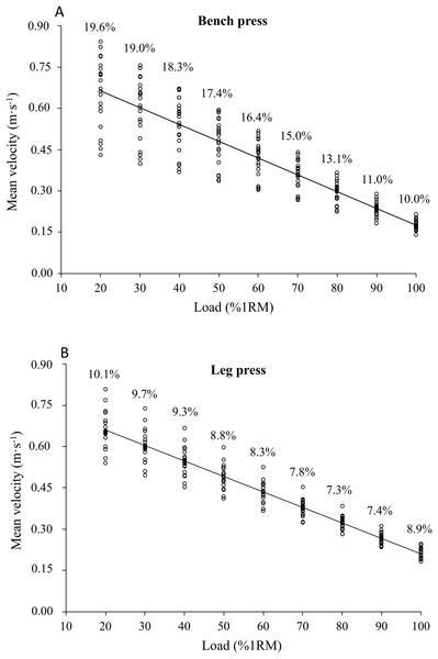 Mean velocities (MV) associated with each relative load (%1RM) obtained from the individual load-velocity relationships in the bench press (A) and leg press (B).