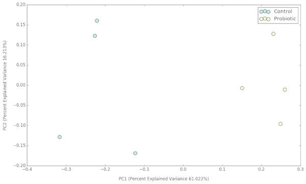 PCoA plot representing the impacts of two different feeds on gut microbial communities of marron after 42 days of feeding trial.