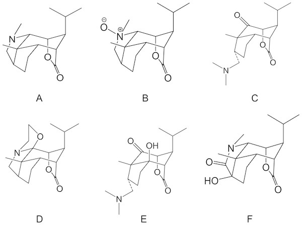 Chemical structures of Dendrobium nobile Lindl alkaloids.
