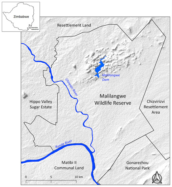 Location of Malilangwe Wildlife Reserve in Zimbabwe.
