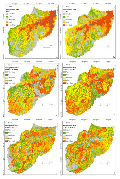 Flood susceptibility maps derived from: (A) individual EBF, (B) individual SVM, (C) ensemble EBF and SVM-RBF, (D) ensemble EBF and SVM-LN, (E) ensemble EBF and SVM-PL and (F) ensemble EBF and SVM-SIG.