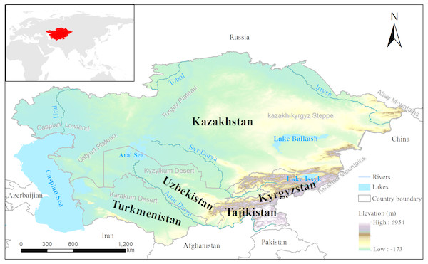 Map showing the location of Central Asia.