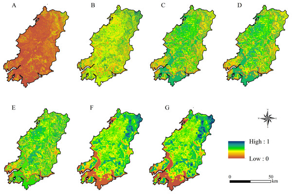 The spatial distribution of ecosystem services based on ordered weighted averaging-graphical information system (OWA-GIS) model under different scenarios.