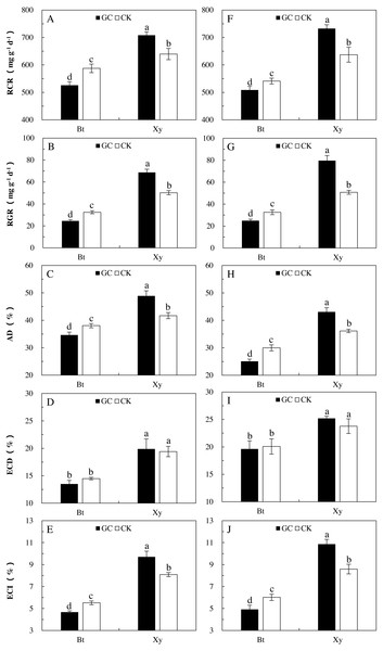 Food utilization of M. separata. from the third to the sixth instar larvae fed on Bt maize (Bt) and non-Bt maize (Xy) inoculated with and without G. caledonium in 2017 (A–E) and 2018 (F–J).