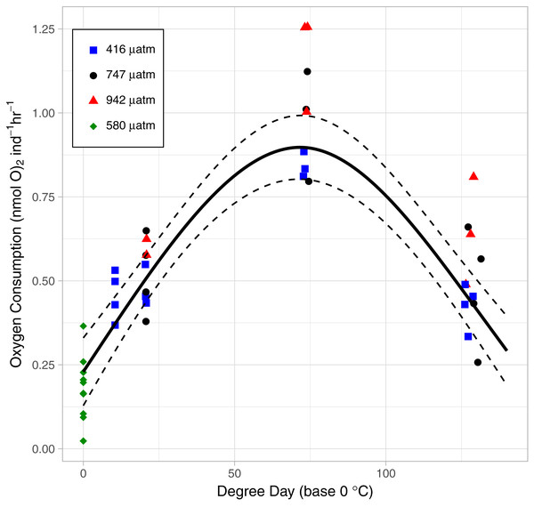 The relationship between Oxygen Consumption Rates and degree days in L. salmonis under different pCO2 treatments.