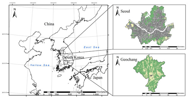Map of the study areas in South Korea: urban environment (Seoul) and forest-agricultural environment (Geochang).