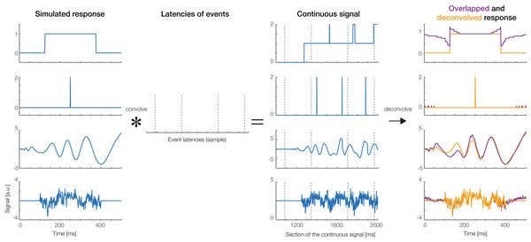 Deconvolution results for simulated signals.