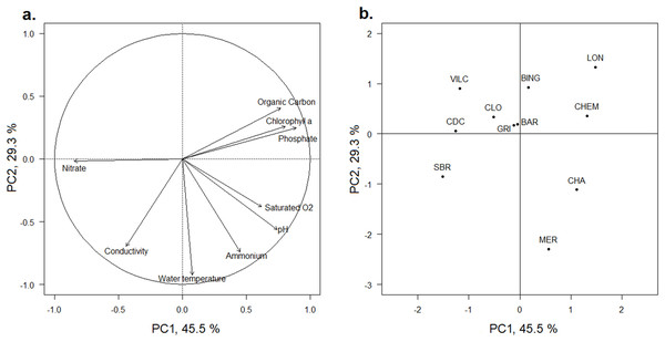 PCA of the physicochemical characteristics of the water of the 11 studied wetlands.