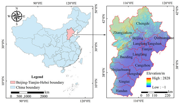 Location of the Beijing-Tianjin-Hebei urban agglomeration.