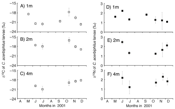 Temporal trend of carbon and nitrogen isotope values of Chironomus acerbiphilus larvae.
