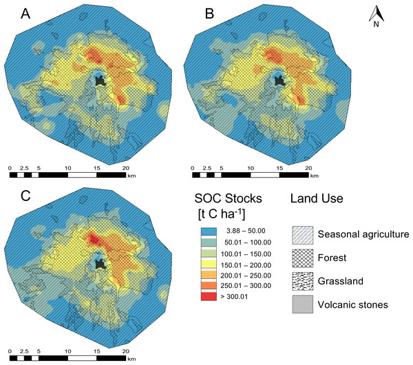Spatial distribution of the soil organic carbon content (SOC) in the O and A horizon in the national park La Malinche (NPLM).
