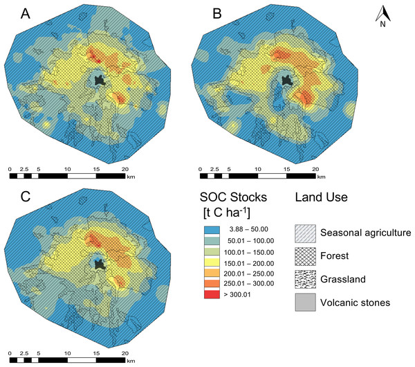 Spatial distribution of soil organic carbon content (SOC) in the O and A horizon of the national park La Malinche (NPLM).