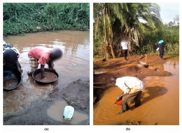 Panning of alluvium in Namukombe stream.