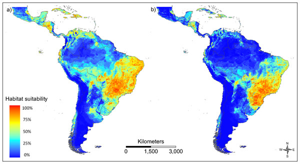 Modelled habitat suitability of the two main vector species (A) Aedes aegypti and (B) Aedes albopictus.
