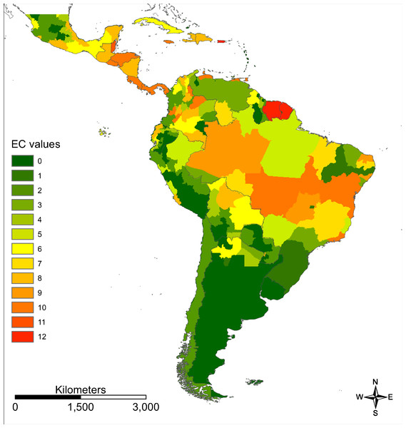 Evidence consensus map for Zika on a regional scale.