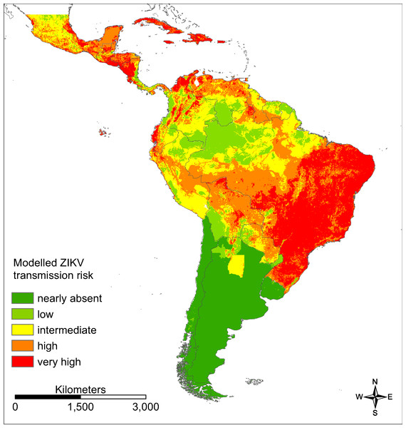 Modelled ZIKV transmission risk in South and Central America based on Maxent cloglog output.